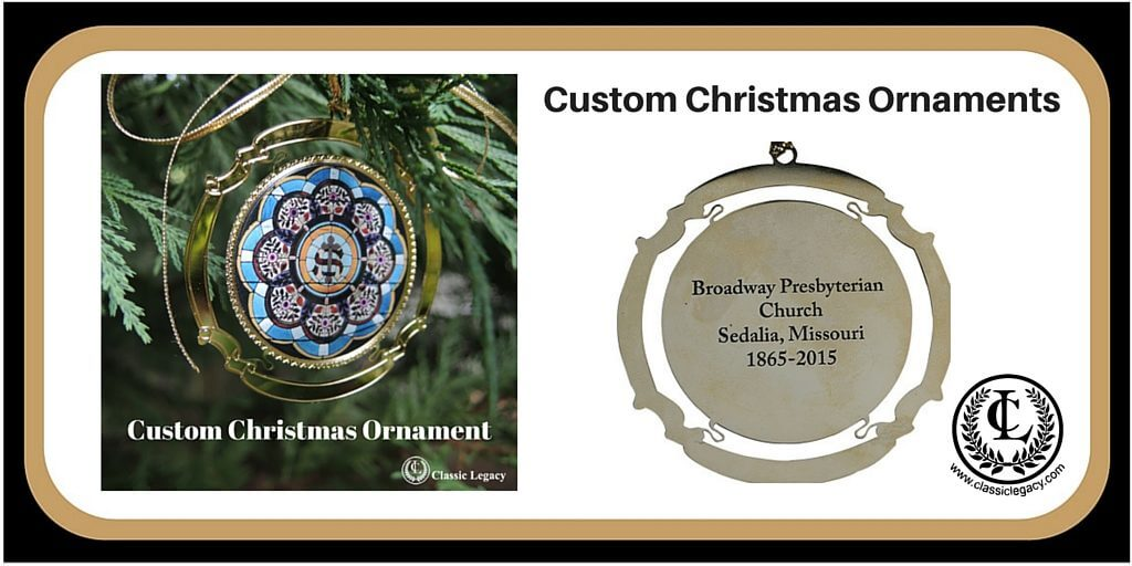 "Christmas ornaments are custom made by Classic Legacy. This brass ornament features the image of the stained glass window from the original church building. Special gifts that celebrate anniversaries are meaningful for special gifts attending. This ""Swag"" is one that will be cherished for years to come."