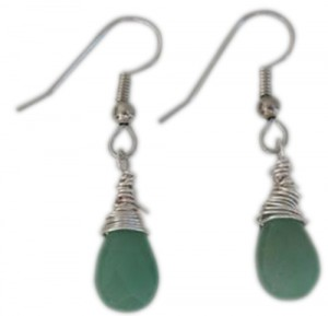 Earring Wire Wrapped Aventurine  by Classic Legacy