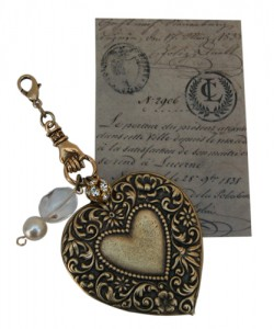 Cluster Heart Charm on Vintage Inspired Display Card by Classic Legacy