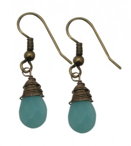 Earring Wire Wrapped with Amazonite Briolett