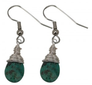 Earring Wire Wrapped African Turquoise