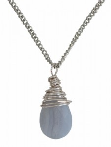 Necklace with Blue Lace Agate Wire Wrapped Nickle Free Silver Plate