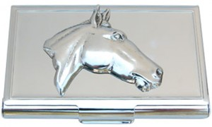 Business Card Holder with Silver Horse Head. When you pull this case out it is a real conversation starter and identifies you as a horse lover!
