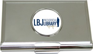 Business Card Holder with Custom LBJ image designed by Classic Legacy