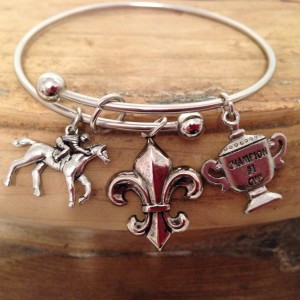 Expandable Hoop Bracelet Horse Racing Theme