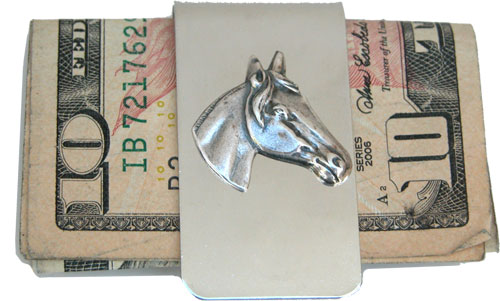 Money Clip with Silver horse head designed by Classic Legacy