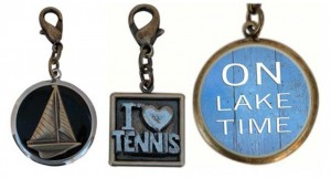 Charms for Classic Legacy bracelets and necklaces.  Sailboat, Tennis, On Lake Time charms bring summer memories.