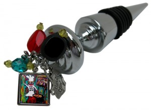 "Wine bottle stopper with charms and ""Gumbo Ya Ya"" Art in Classic Legacy collection"