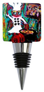 "Wine Bottle Stopper with ""Gumbo Ya Ya"" artist Sharon Furrate for the Classic Legacy Collection"