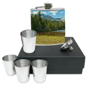 Flask Set with Colorado Photo of Paiute Peak