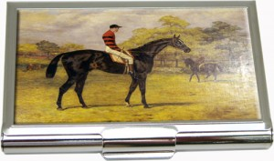 Business Card Holder with Vintage Horse Race  Painting