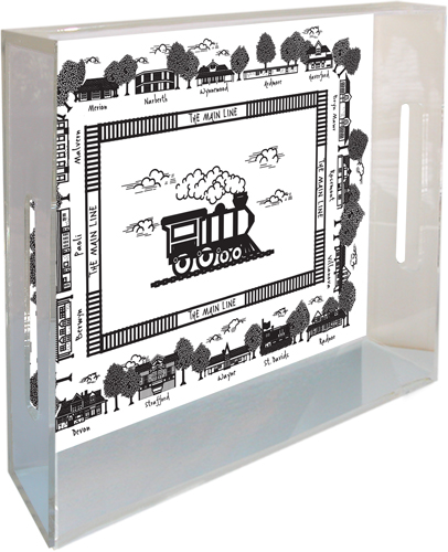 Classic Legacy Acrylic Tray With Main Line Train Art