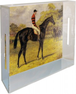 "Our Vintage Race Horse  acrylic tray is 8.5"" x 11"" x 3"" ."