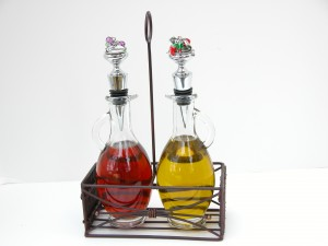 Display wine bottle stoppers used for alternative uses such as for oil and vinegar.