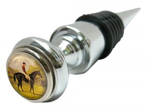 Silver Classic Wine Bottle Stopper with Vintage Horse Racing Painting Designed by Classic Legacy
