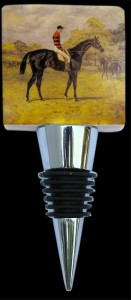 Marble Wine Bottle Stopper with Vintage Horse Race Painting