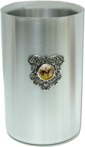 Wine Cooler with Silver Medallion and Race Horse Painting