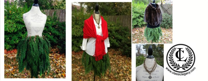 Mannequin Evergreen  Tree Skirt Makes Creative Retail Display