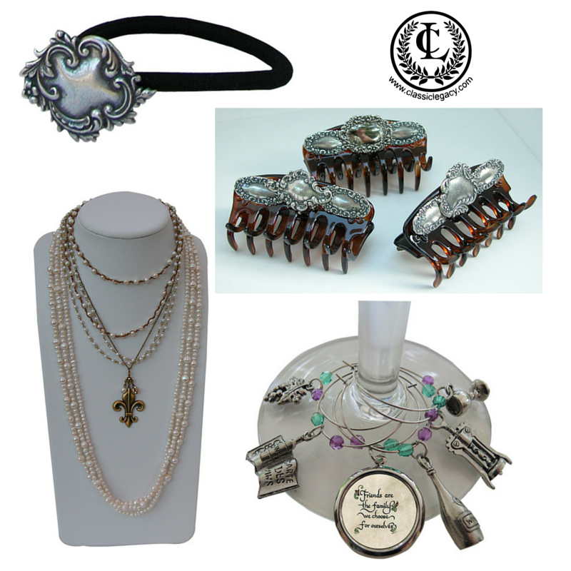 Catherine Tatum designs of hair accessories, jewelry, and wine accessories