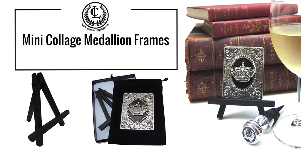 Mini Collage Medallion Frames Vintage Inspired Art for Desktop or Home Decor