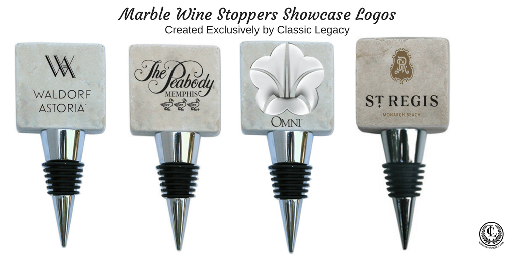 Classic Legacy marble wine bottle stoppers with black and white logos.