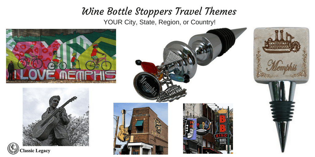 Personalized Wine Gifts and Bottle Stoppers City Theme of Memphis