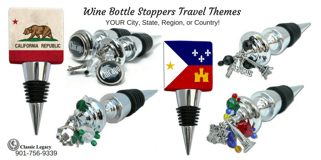 Personalized Wine Gifts and Bottle Stoppers with a Travel Theme