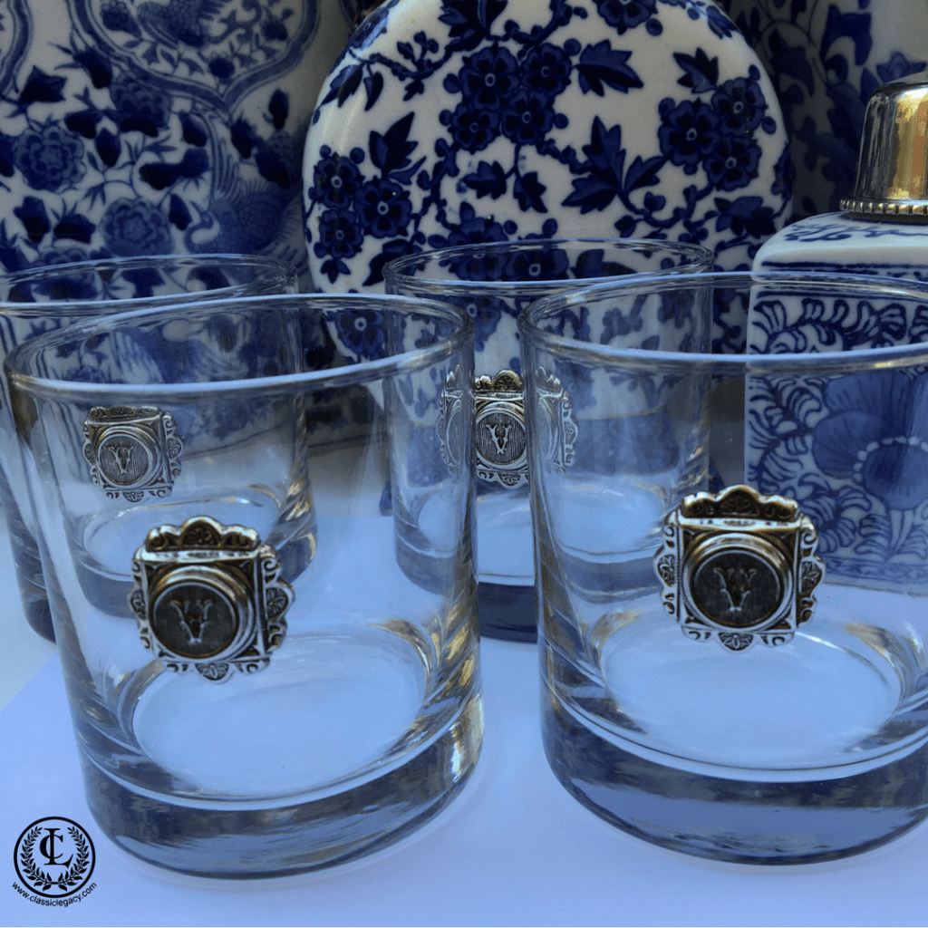 Bourbon Glasses with Silver Initials