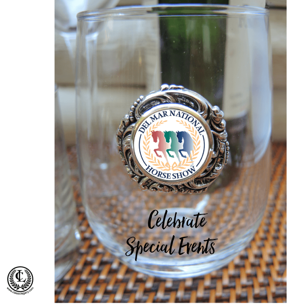 Del Mar Horse Show Stemless Wine Glass