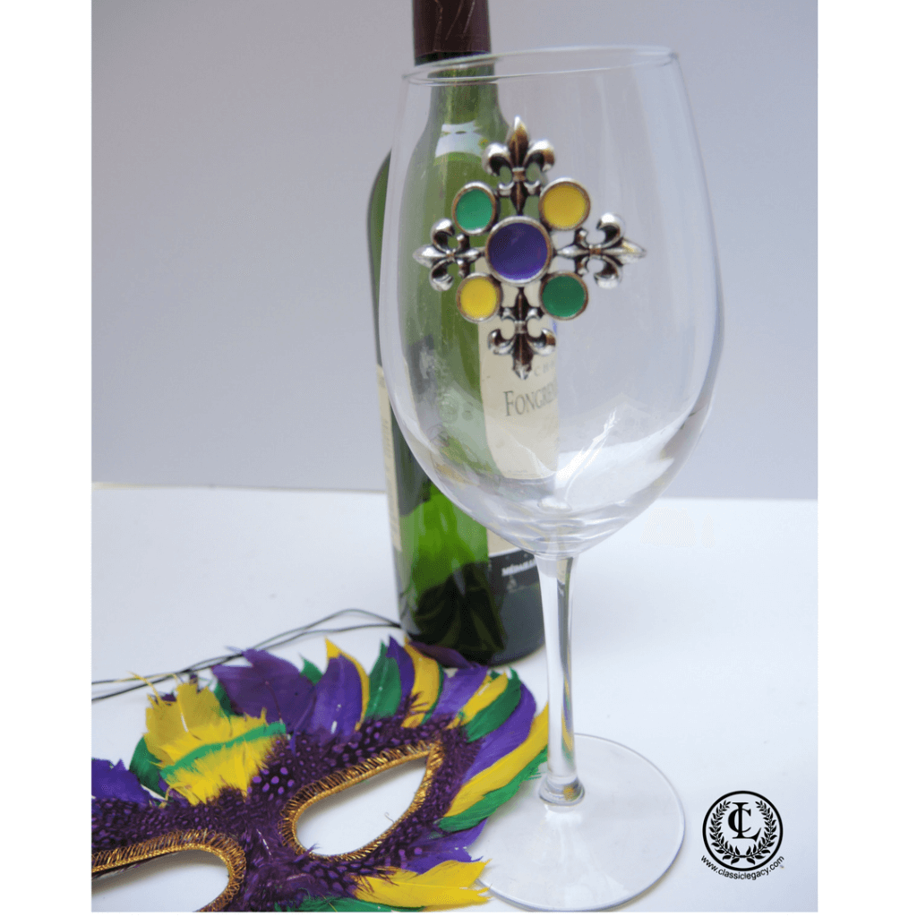 Long Stemed Wine Glass with Silver and Enamel Mardi Gras Medallion