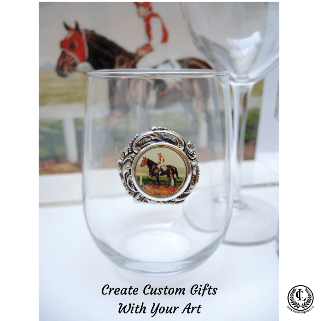 Racehorse Painting Stemless Wine Glass