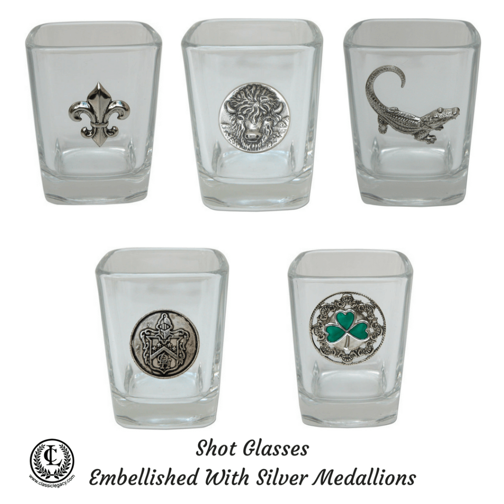 Shot glasses with silver medallions