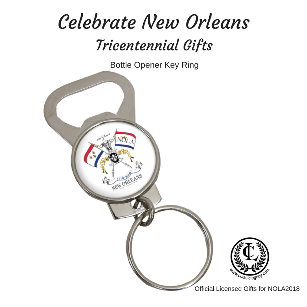 New Orleans Tricentennial Gifts include this bottle opener/ key ring.