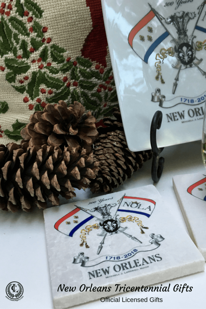 NOLA2018 Tricentennial Gifts feature the Marble Coaster with the New Orleans Tricentennial Logo for Christmas