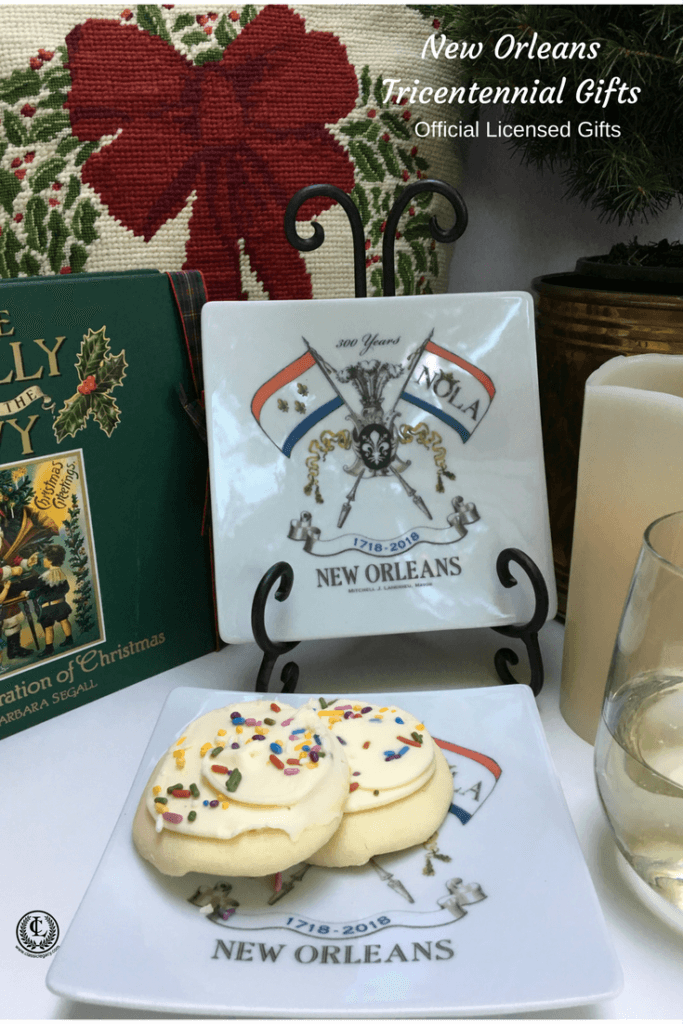 NOLA2018 Tricentennial Gifts feature our small plate celebrating New Orleans Tricentennial at Christmas with cookies