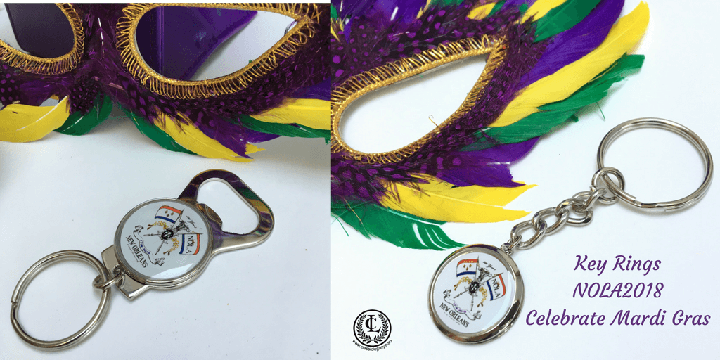 NOLA2018 Tricentennial Gifts include two styles of key rings.