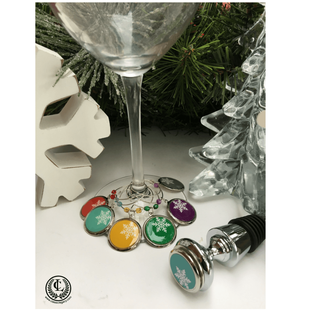 Personalized Gifts Slope Style Snowflake Wine Charms and Bottle Stopper