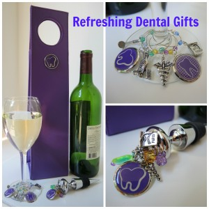 Dentist Gifts such as this dental theme wine stopper were designed exclusively for Practicon.