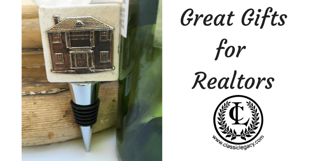 Realtor gifts include this fun wine bottle stopper with a vintage inspired house medallion