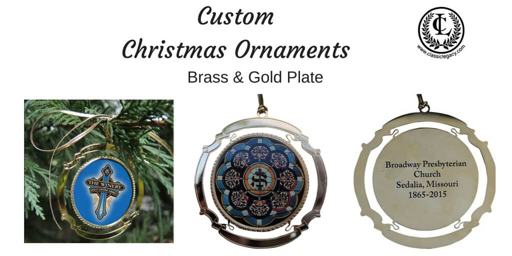 Classic Legacy Custom Christmas Ornaments Brass & Gold Plate