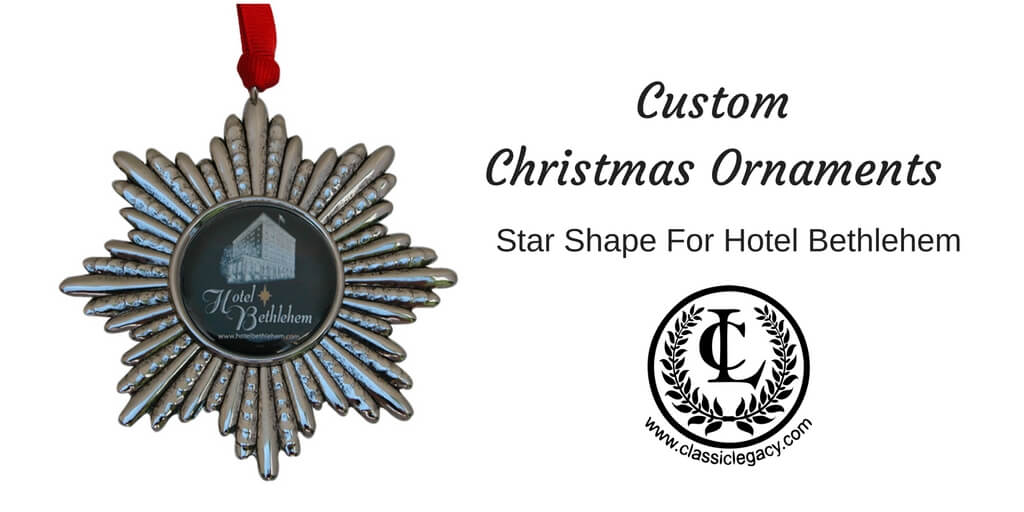 Custom Christmas Ornaments Silver star Hotel Bethlehem