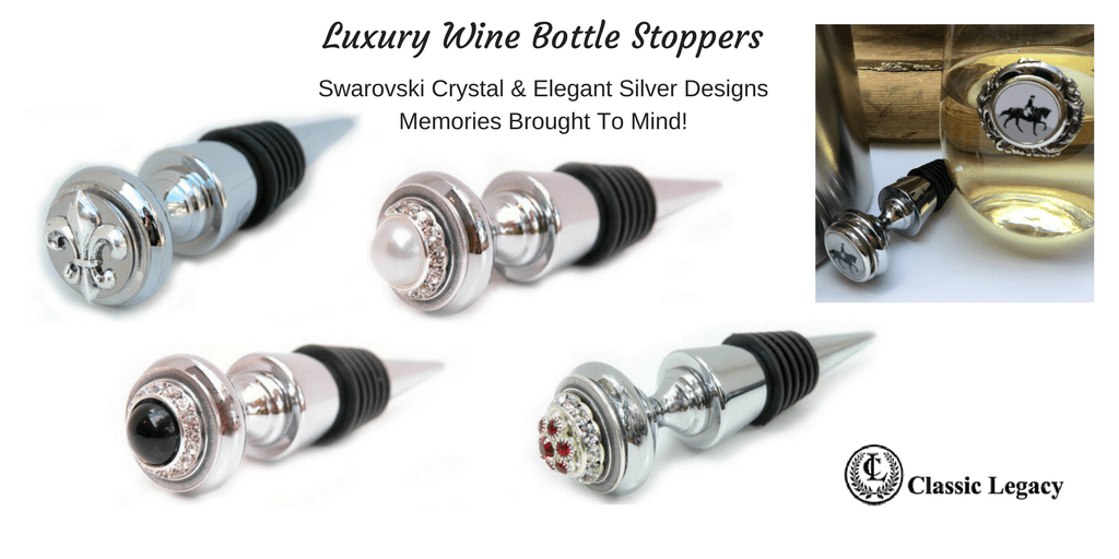Personalized Wine Gifts and Luxury Wine Bottle Stoppers Swarovski designs
