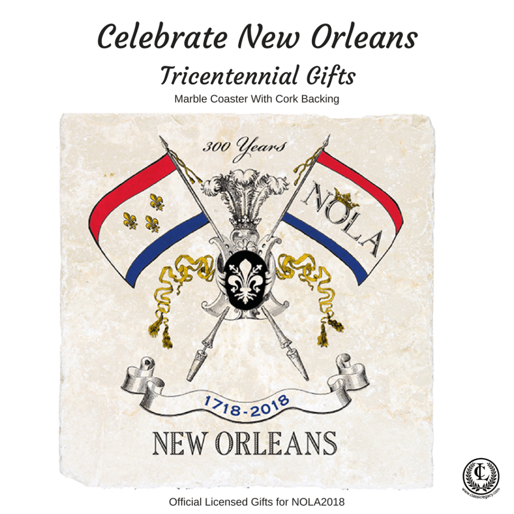 New Orleans Tricentennial gifts include this exclusive marble coaster featuring the NOLA2018 logo.