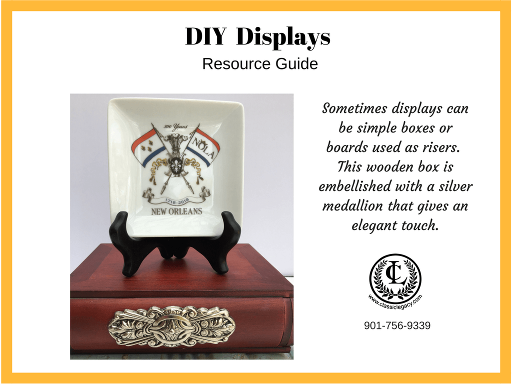 DIY Luxury Retail Display Wooden Box Silver Medallion